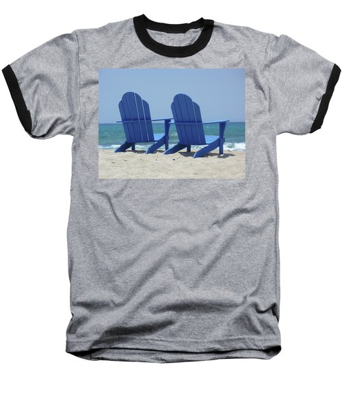 Baseball T-Shirt featuring the photograph Blue Chairs by Frank DiMarco