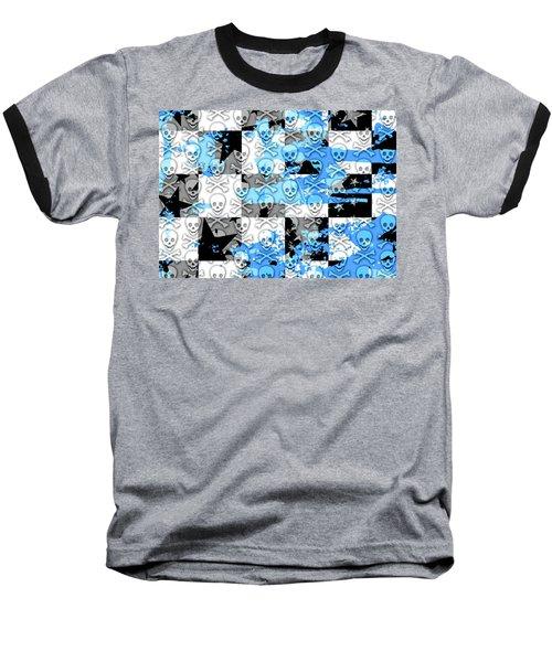 Blue Checker Skull Splatter Baseball T-Shirt