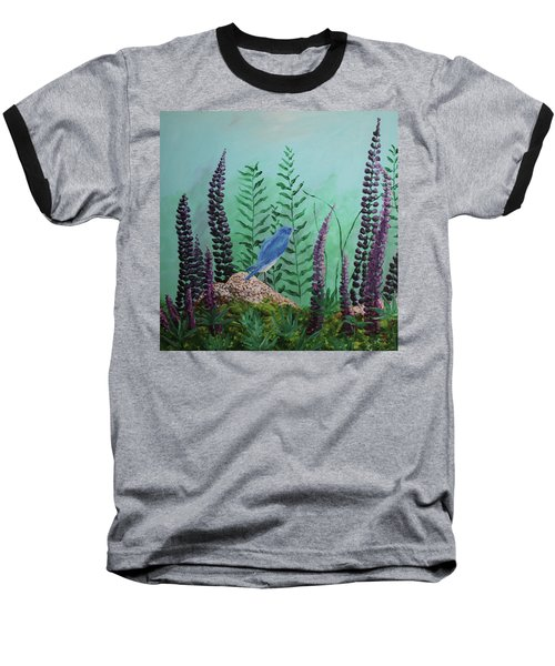 Blue Chickadee Standing On A Rock 1 Baseball T-Shirt