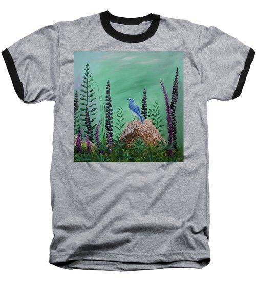 Blue Chickadee Standing On A Rock 2 Baseball T-Shirt