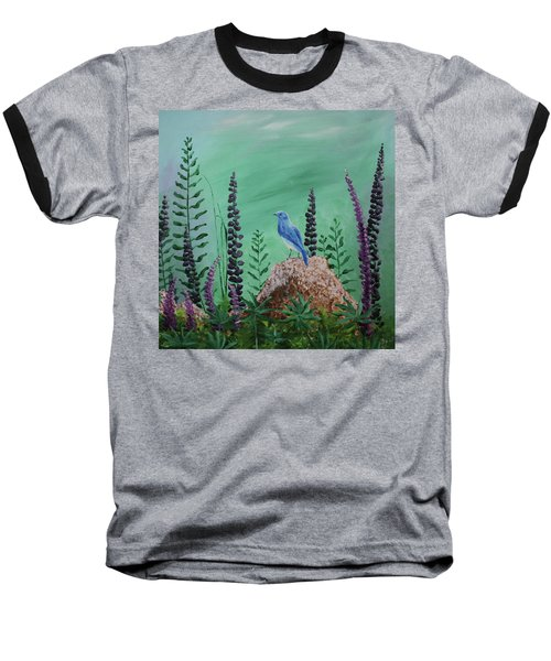Blue Chickadee Standing On A Rock 2 Baseball T-Shirt