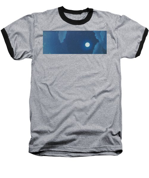 Blue Cloudy Moon Baseball T-Shirt