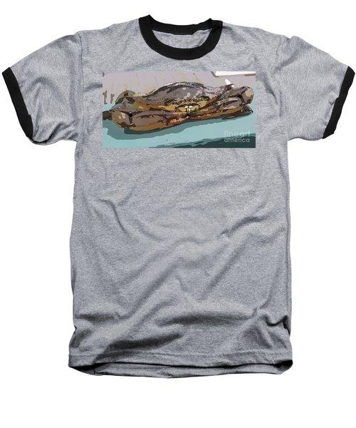 Blue Crab Cartoon Baseball T-Shirt