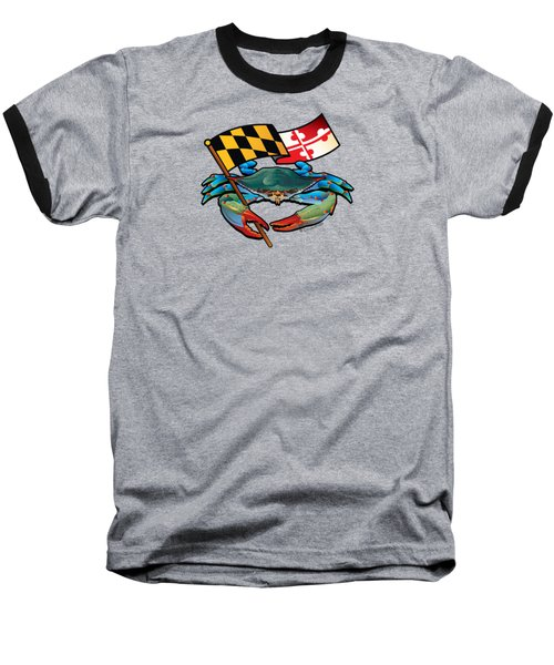 Blue Crab Maryland Flag Baseball T-Shirt