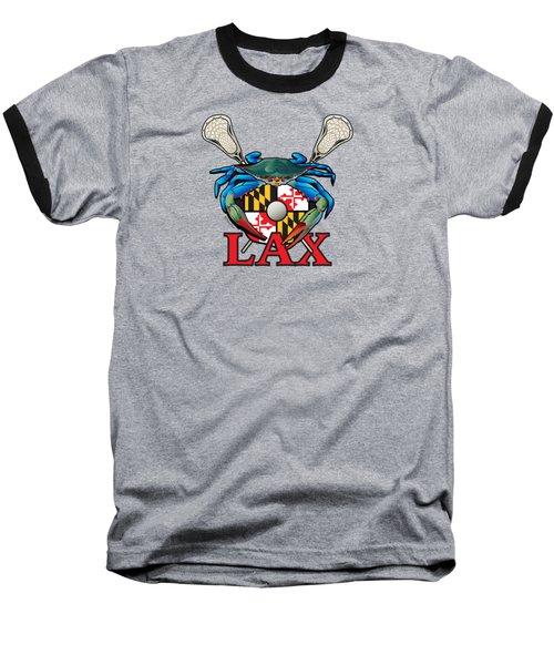 Blue Crab Maryland Lax Crest Baseball T-Shirt