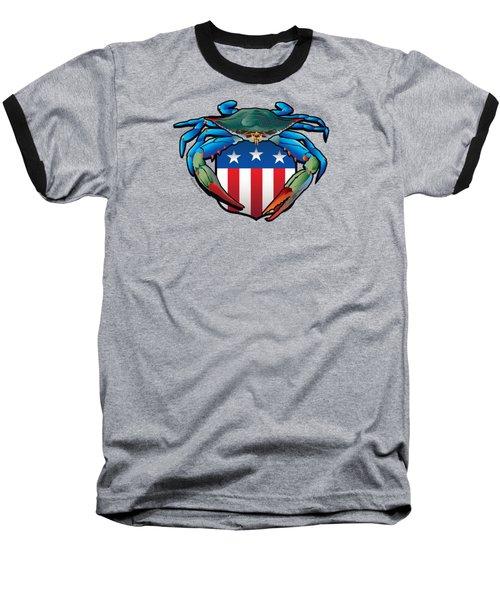 Blue Crab Usa Crest  Baseball T-Shirt