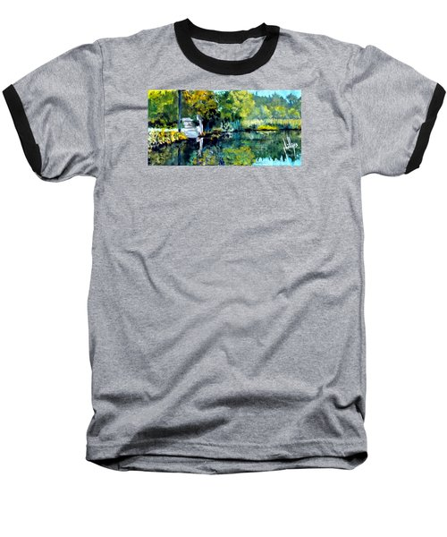 Blue Creek Fish Camp Baseball T-Shirt by Jim Phillips