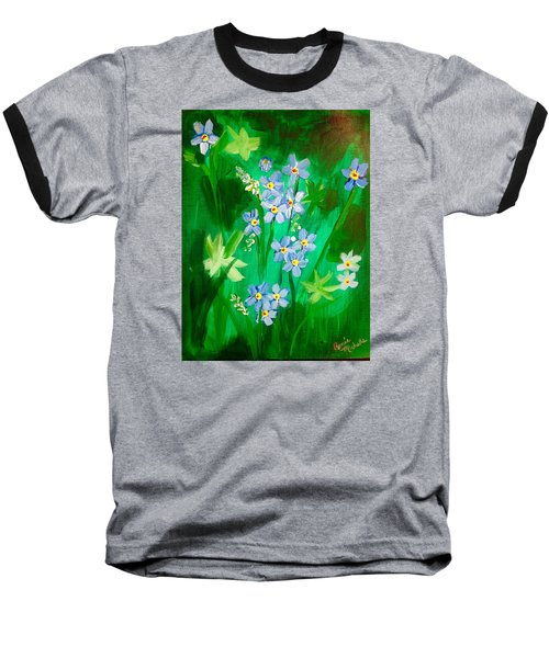 Blue Crocus Flowers Baseball T-Shirt