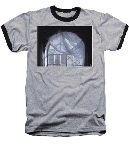 Hand-painted Blue Curtain In An Arch Window Baseball T-Shirt