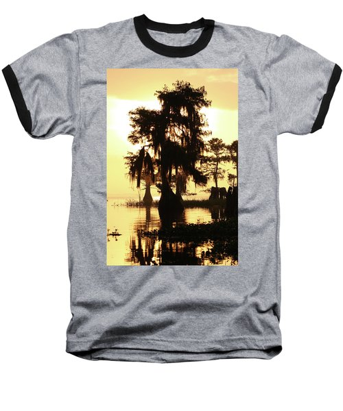 Blue Cypress Yellow Light Baseball T-Shirt