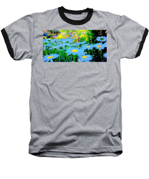 Blue Daisy Baseball T-Shirt by Terence Morrissey