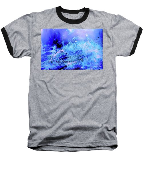 Blue Digital Artwork With Dots And Stripes And Sandstone Finish Baseball T-Shirt