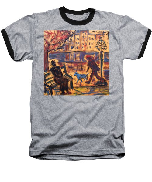 Blue Dog In The City Baseball T-Shirt
