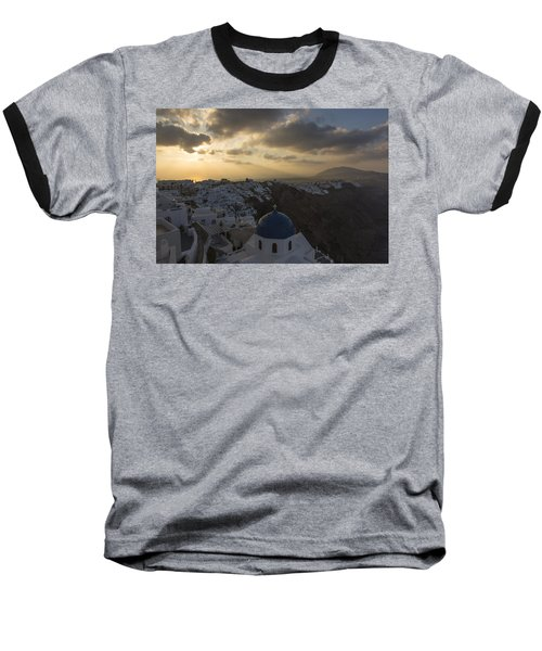 Blue Dome - Santorini Baseball T-Shirt by Kathy Adams Clark