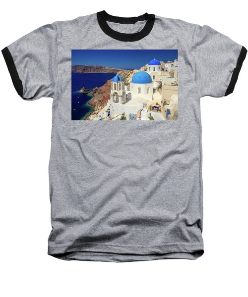 Blue Domed Churches Baseball T-Shirt by Emmanuel Panagiotakis