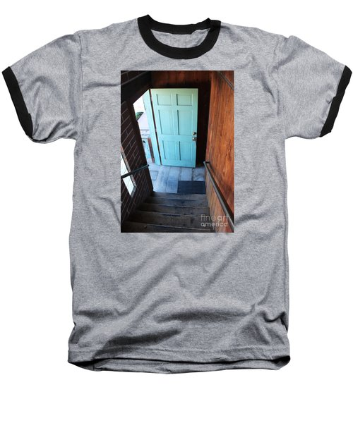 Baseball T-Shirt featuring the photograph Blue Door by Cheryl Del Toro