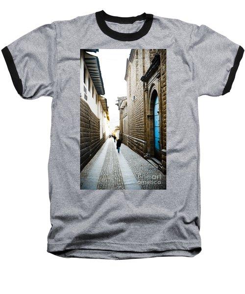 Blue Door In Cusco Baseball T-Shirt by Darcy Michaelchuk
