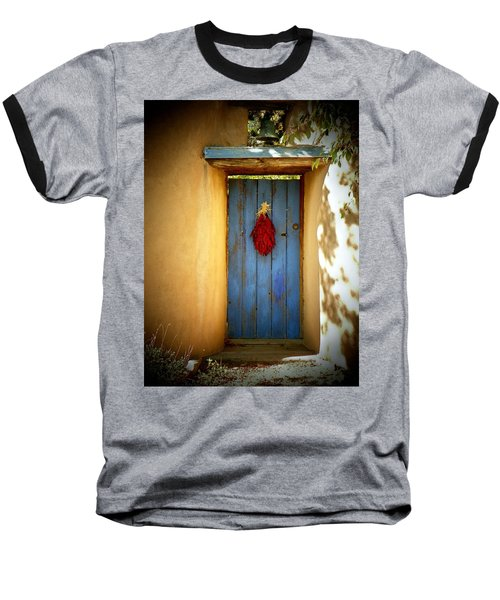 Baseball T-Shirt featuring the photograph Blue Door With Chiles by Joseph Frank Baraba