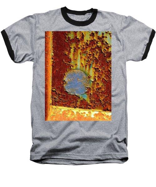 Blue Dot Metal Baseball T-Shirt by Jerry Sodorff
