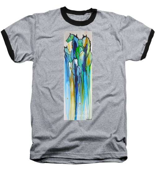 Baseball T-Shirt featuring the painting Blue Drip 2 by Cher Devereaux
