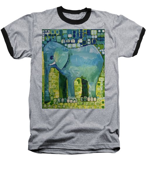 Baseball T-Shirt featuring the painting Blue Elephant by Donna Howard