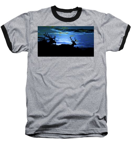 Baseball T-Shirt featuring the mixed media Blue Elk Dreamscape by Mike Breau