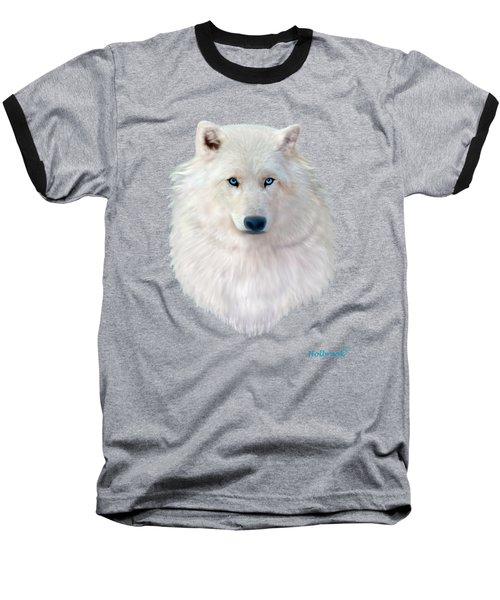 Blue-eyed Snow Wolf Baseball T-Shirt by Glenn Holbrook