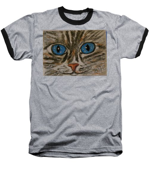 Baseball T-Shirt featuring the painting Blue Eyed Tiger Cat by Kathy Marrs Chandler