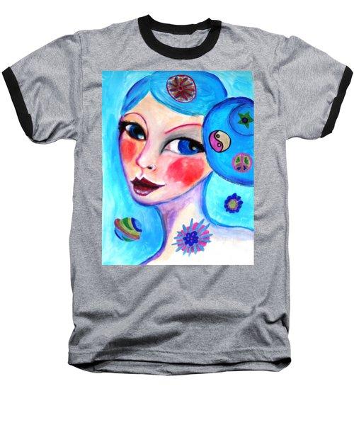 Blue Eyed Woman Baseball T-Shirt
