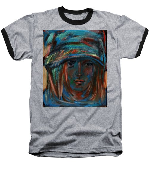 Blue Faced Girl Baseball T-Shirt