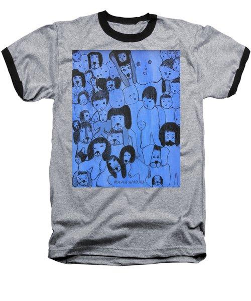 Blue Faces Baseball T-Shirt by Maria Iliou