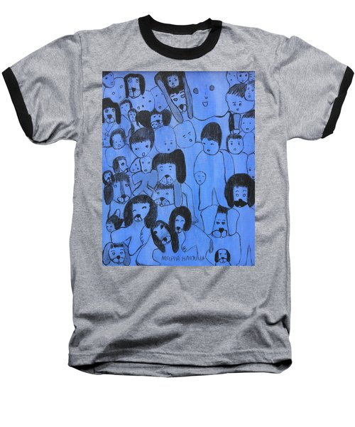 Blue Faces Baseball T-Shirt