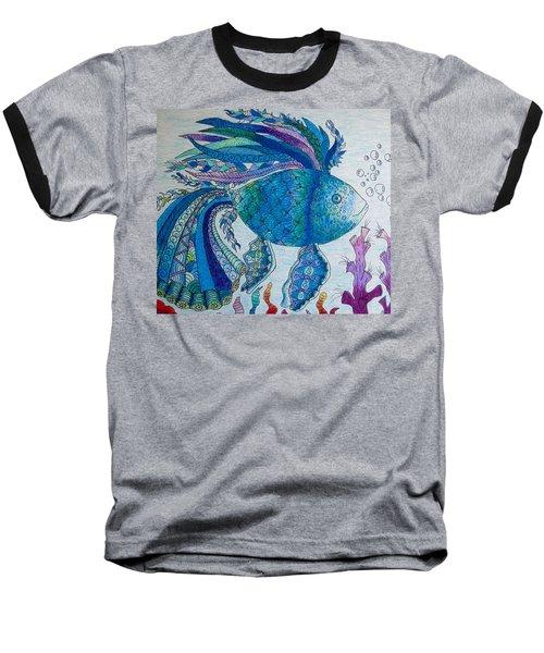 Baseball T-Shirt featuring the drawing Blue Fish by Megan Walsh
