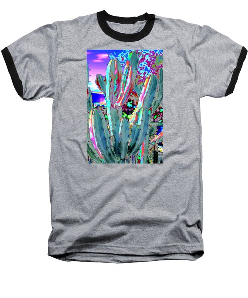 Baseball T-Shirt featuring the photograph Blue Flame Cactus Abstract by M Diane Bonaparte