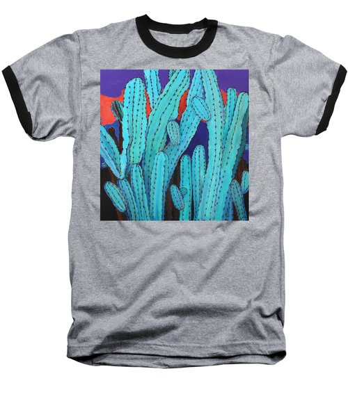 Baseball T-Shirt featuring the painting Blue Flame Cactus Acrylic by M Diane Bonaparte