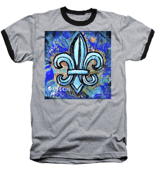 Baseball T-Shirt featuring the mixed media Blue Fleur De Lis by Genevieve Esson