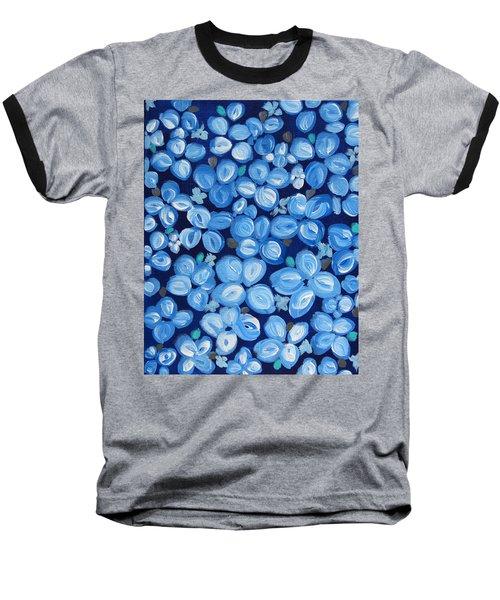 Blue Floral Frenzy Baseball T-Shirt