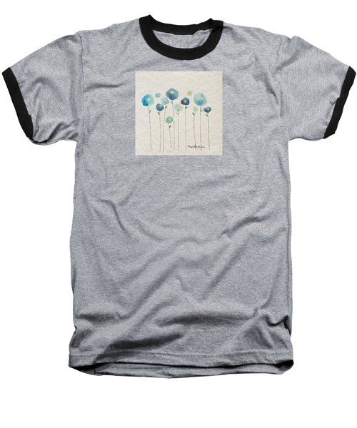 Blue Floral Baseball T-Shirt