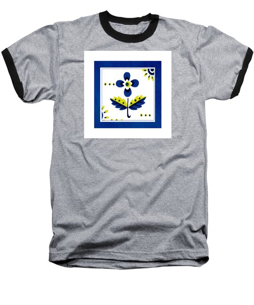 Blue Flower Illustration Baseball T-Shirt by Bonnie Bruno