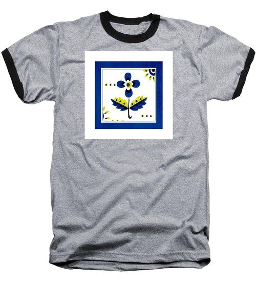 Blue Flower Illustration Baseball T-Shirt