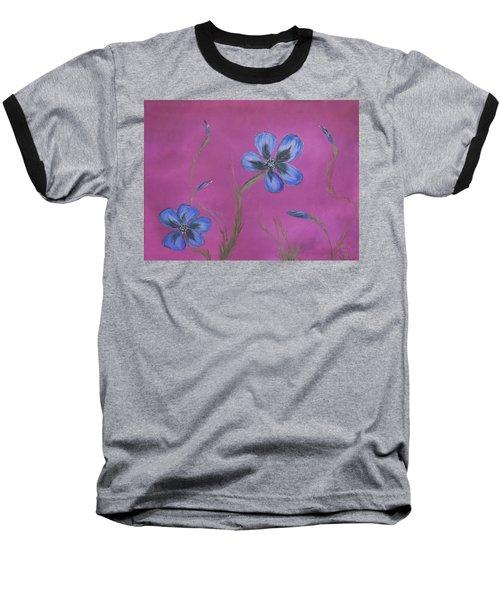 Blue Flower Magenta Background Baseball T-Shirt