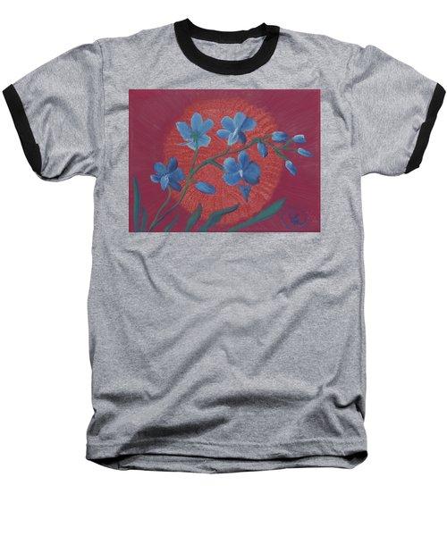 Blue Flower On Magenta Baseball T-Shirt