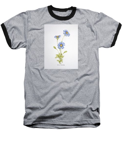 Blue Flower Baseball T-Shirt by Theresa Marie Johnson