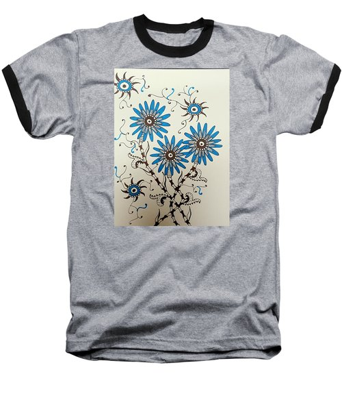 Blue Flowers 2 Baseball T-Shirt