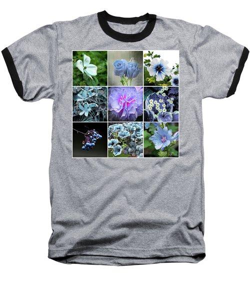Blue Flowers All Baseball T-Shirt