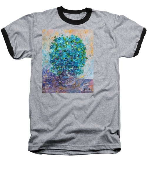 Blue Flowers In A Vase Baseball T-Shirt by AmaS Art