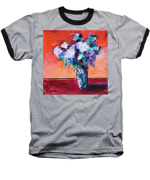 Blue Flowers In A Vase Baseball T-Shirt by Yulia Kazansky