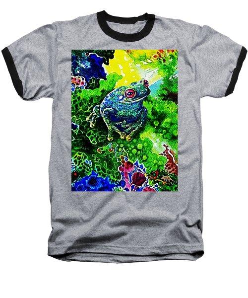 Blue  Frog Baseball T-Shirt by Hartmut Jager