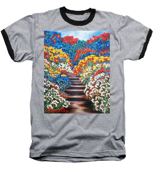 Baseball T-Shirt featuring the painting Blue Garden Cascade by Sigrid Tune