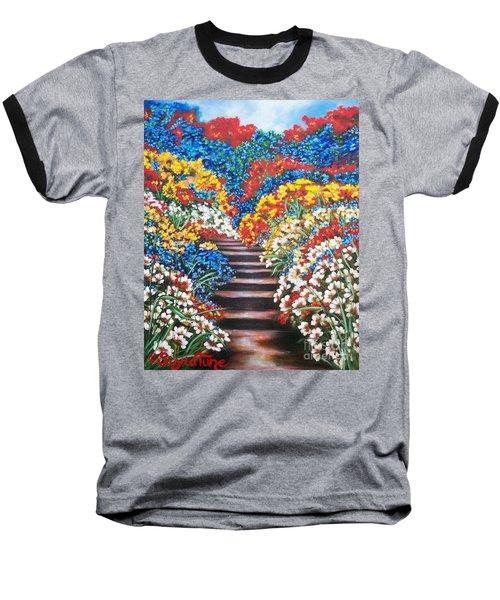 Blue Garden Cascade Baseball T-Shirt